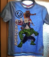 NEW BOYS OFFICIAL MARVEL AVENGERS HULK WHITE OR GREY GRAPHIC T-SHIRT 5-12 YEARS
