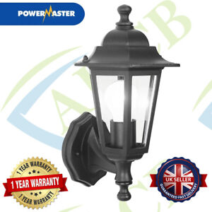 POWERMASTER TRADITIONAL 6 SIDED OUTDOOR SECURITY WALL LIGHT LANTERN IP44 - BLACK