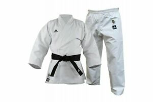 adidas WKF Training Karate Suit Gi Uniform Adult / Kids White Elasticated 11oz