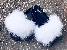 Women Rihanna Celebrity Handmade Sliders Big Fur Fluffy White Sizes 3,4,5,6 UK