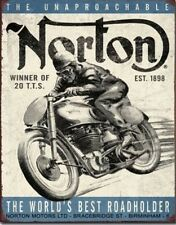 New Norton Motorcycles Metal Tin Sign The Worlds Beat Roadholder 12x16
