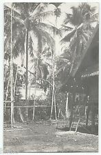 BM346 Carte Photo vintage card RPPC Indochine habitation maison arbre
