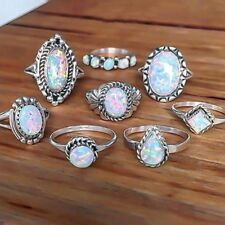 8-Piece Ring Set, Imitation Faux Opal, Bohemian Boho Hippie Style Jewelry