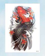 "US Seller-koi carp fish large 8.25"" half-sleeve arm tattoo summer body decal"