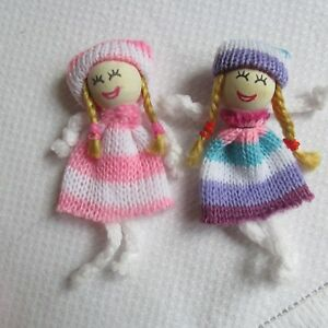 Rag Dolls Mini Easter Fun, Happy Girls, Fairy Girl, Flower Girl, Fabric & Wood