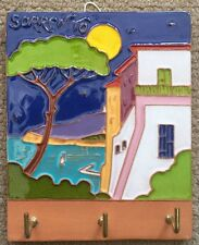 Vietri pottery-5x4in.Sorrento Tile-Key Holder.Made/Painted by hand in Italy