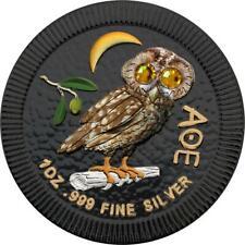 Niue 2019 $2 Athenian Owl Feathers 1oz Silver Coin with Swarovski stones