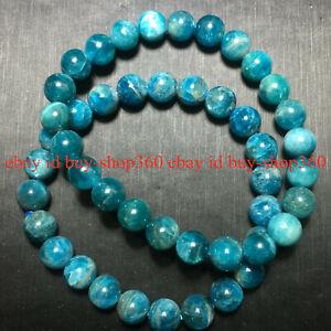 2pcs Genuine 6/8/10mm Natural Blue Apatite Gems Beads Stretch Bracelet 7.5'' AA
