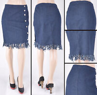 NWT Stretch Denim Dk.Indigo Knee Length Button Down Skirt,size S to 3XL#SG-76170