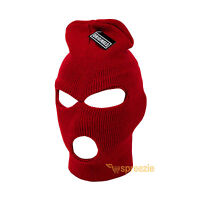 Red Ski Mask Beanie 3 Hole Knitted Cap Hat Warm Face Winter Snow Mens Womens New