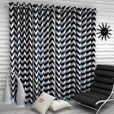 New 4 Piece Eyelet Door Curtain Set - 7 feet Black