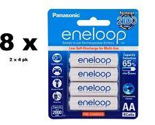8 Panasonic eneloop rechargeable AA batteries HR06 Ni-MH 2000mAh BK-3MCCE/4BA