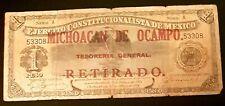 New Listing1914 M-933 Ejer. Const. de Mexico/Op Michoacan De Ocampo $1 Un Peso F Nice!