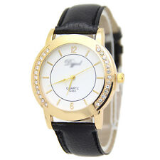 Ladies Fashion Gold Tone Quartz White Faced & Rhinestone Crystal Wrist Watch.