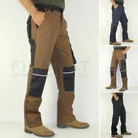 Mens Combat Cargo Work Trousers Outdoor Work Wear Knee Pad Pockets Pants