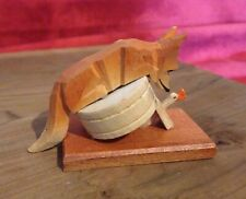 Vintage Erzgebirge Fox and Goose German Carved Wood Miniature Figurine