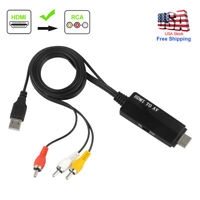 1080P HDMI to RCA Audio Video Converter Cable For Fire Stick PS3 DVD Xbox Laptop