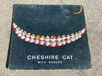 Original ART OOAK Seashell CHESHIRE CAT Braces GOLD CHIP TOOTH Nautical Decor