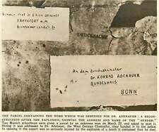 1952 Bomb Parcel Destined For Dr Adenauer
