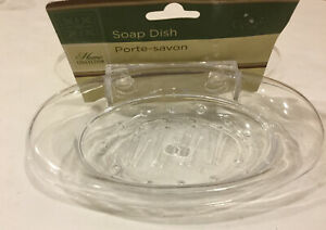 """Home Collections, 1""""H X 4""""W X 6.5""""L Soap Dish Holder with 2-Suction Cups"""