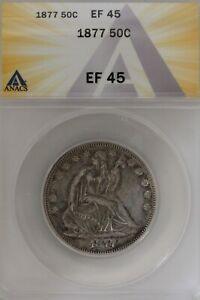 1877 .50   ANACS   EF 45   1800's Half Dollar, Liberty Seated Half