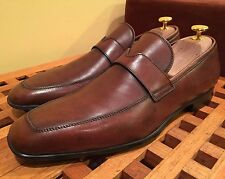 Santoni Brown Soft Leather Penny Loafer 'Quinlan' Shoes 8.5 D $545