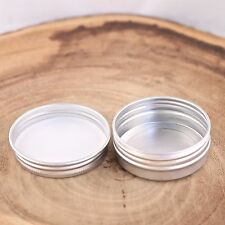 10*Empty Cosmetic Pot Tin Silver Container 1oz SCREW lid Jar EPE inserts
