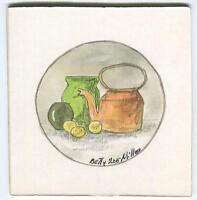 FOLK ART PRIMITIVE COPPER TEA POT KETTLE LEMONS GREEN VASES VIRGINIA PAINTING