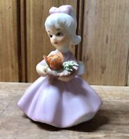 Vintage Japan Little Girl Ceramic Figurine Pink Dress Floral Bouquet No 8614