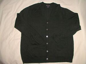 BROOKS BROTHERS Cardigan Sweater,XL,Dark Green,Button Up,2 Pockets,Merino Wool!