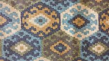 Blue Olive Gold Beige Southwest Ikat Geometric by P Kaufmann Upholstery Fabric