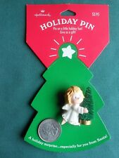 HALLMARK Christmas PIN LITTLE ANGEL Holding a Bottle Brush Tree LAPEL/BROOCH-NOC