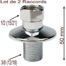 Lot de 2 Raccords Droit Laiton Chromé,,Mâle 3/8 (12/17) Femelle 1/2,,Plomberie
