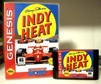 DANNY SULLIVAN'S INDY HEAT Custom Sega Genesis CARTRIDGE & CASE! RARE GAME!