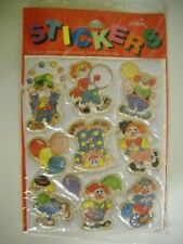 Vintage Gibson Sticker  Pack 1980's 1990's Puffy  Clowns 1 Sheet per Package