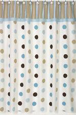 Sweer Jojo Designs Mod Dots Blue Cotton Shower Curtain Kids Bathroom 72 x 72 in.