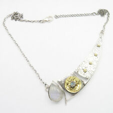 925 Solid Silver RAINBOW MOONSTONE Necklace 21.3 Inches, Pendant Width 2.7 CM