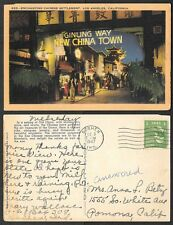 1947 California Postcard - Los Angeles - China Town - Ginling Way