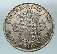 1939 Great Britain United Kingdom UK GEORGE VI Silver Half Crown Coin i84505