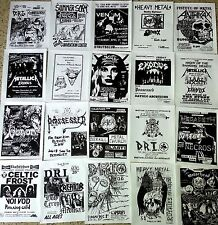 METALLICA, SLAYER, VENOM, DRI, 80's THRASH METAL 20 Flyer Set - repro 8.5x11,