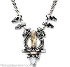 TOPAZ CITRINE BLACK CLEAR CRYSTAL RHINESTONE & Silver Pendant Statement Necklace