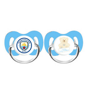 OFFICIAL MANCHESTER CITY FC 2PK BABY SOOTHERS