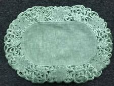 Oval Embroidery Organza Fabric Lace Cutwork Table Placemat Runner Wedding White