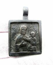 MEDIEVAL BRONZE NECK ICON DEPICTING MOTHER MARY & BABY JESUS - ARTIFACT- F88