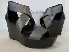 Calvin Klein Size 8.5 M Saga Gunmetal Black Open Toe Wedges New Womens Shoes