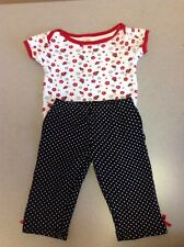 Baby Gear Infant Baby Girls 2 Piece Set Lady Bug Red White Black Size 6-9 Months