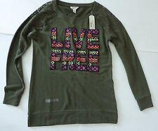 Arizona Jean Co Graphic LS Sweater Shirt Size Medium Live Free RP$40 Olive Green