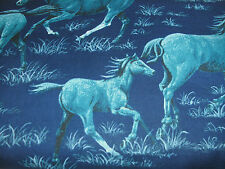 1 Yd Western Horse Novelty Fabric Horses Running Blue Country Midnight