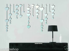 Hearts Mirror Reflection Decoration Sticker Living Room Bedroom Wall Decor Decal