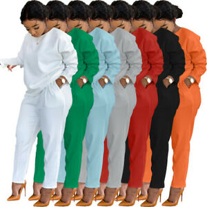 New Stylish Casual Wome Solid Round Neck Long Sleeve Pocket Pants 2 Pcs Outfits